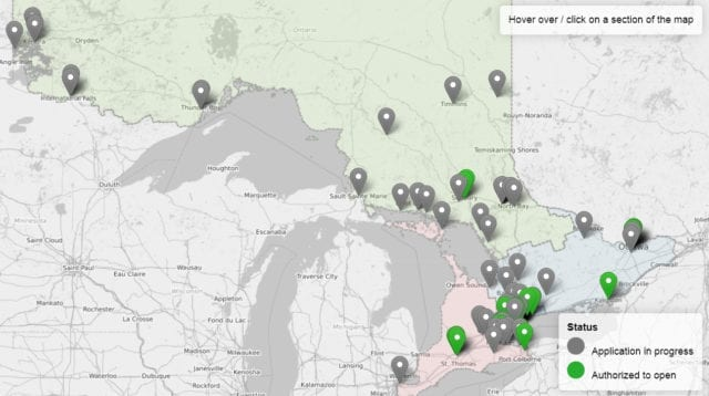 map of Ontario cannabis retail store applications