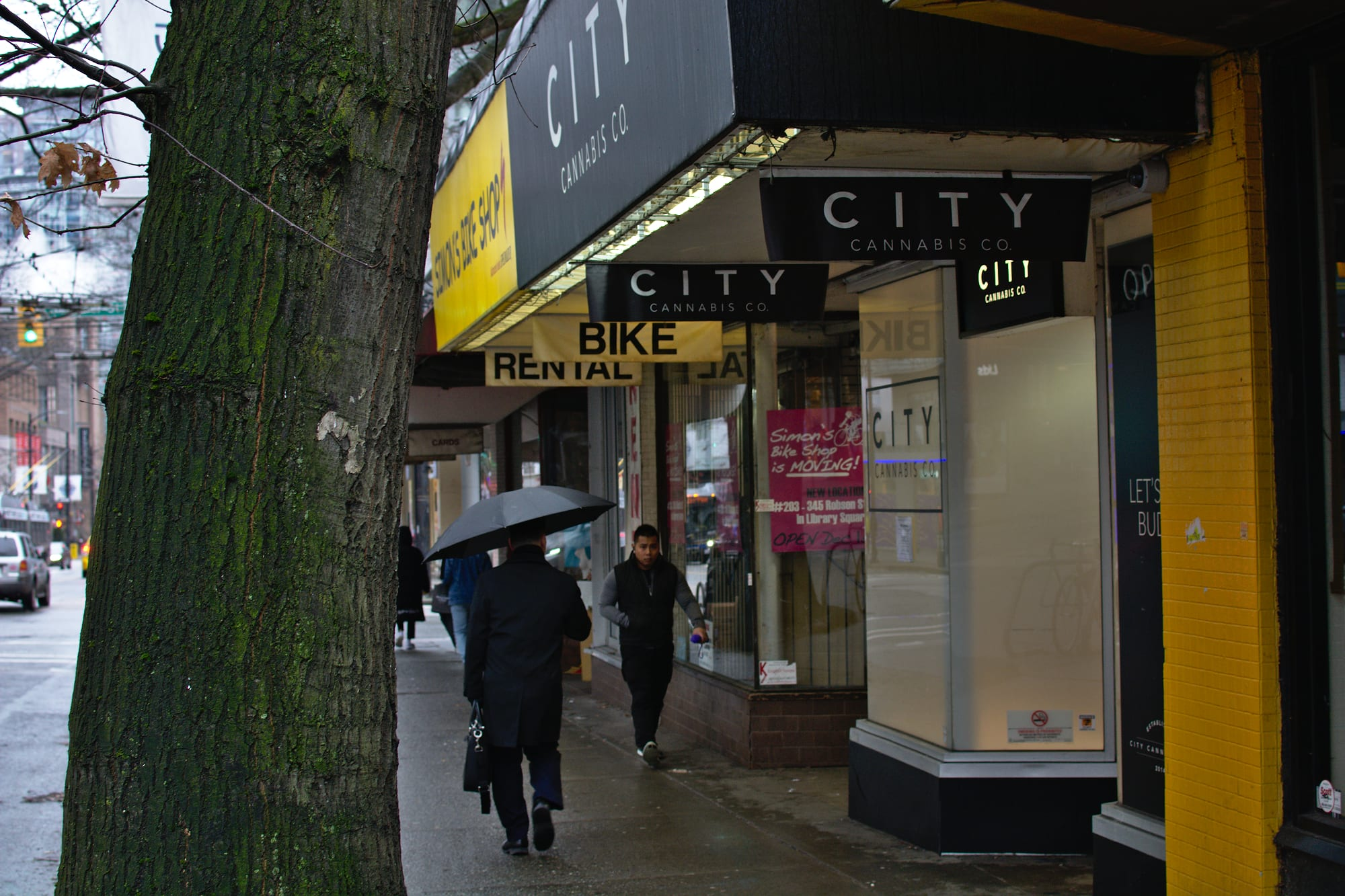 Outside of City Cannabis Co. downtown Vancouver - Commercial property value slashed by slow roll-out of cannabis stores