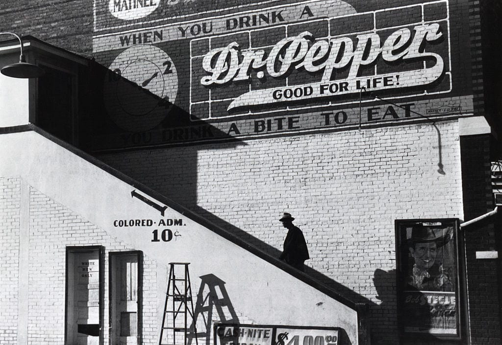 A segregated movie theatre entrance in Mississippi, 1939