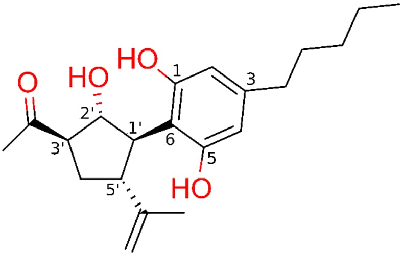 Chemical structure of cannabimovone CBM with functional groups coloured in red