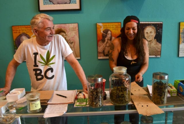 Neil Magnuson greets people by name at the DTES's newest weed retail store, which doubles as a the new home for a grassroots harm reduction initiative.