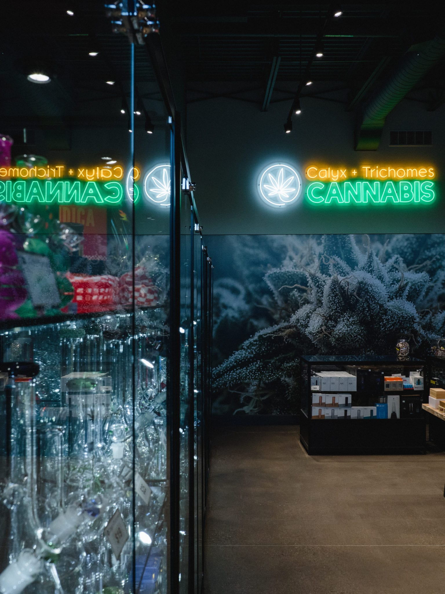 cases of glass at Calyx + Trichomes