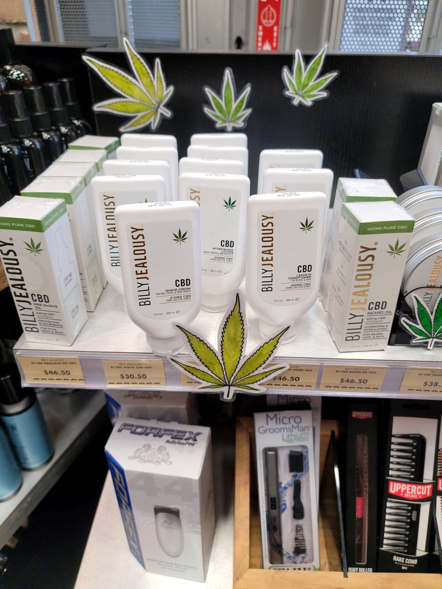 Illict CBD shampoo in plain view — what's it to you? Tommy Guns shelf