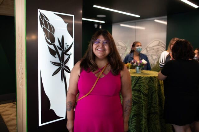 Artist Jessica Joseph inside Seed & Stone - Songhees Edition