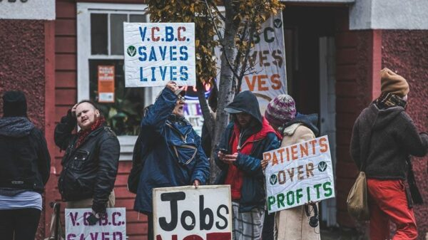 Supporters protest outside the Victoria Cannabis Buyers Club