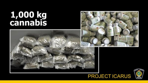 1,000 kg of cannabis seized by Ontario police force