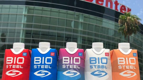Selection of BioSteel bottles outside the Staples Centre