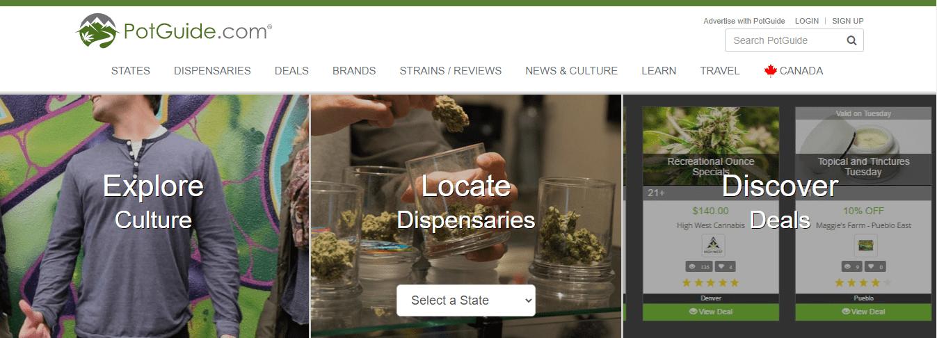 PotGuide's website landing page