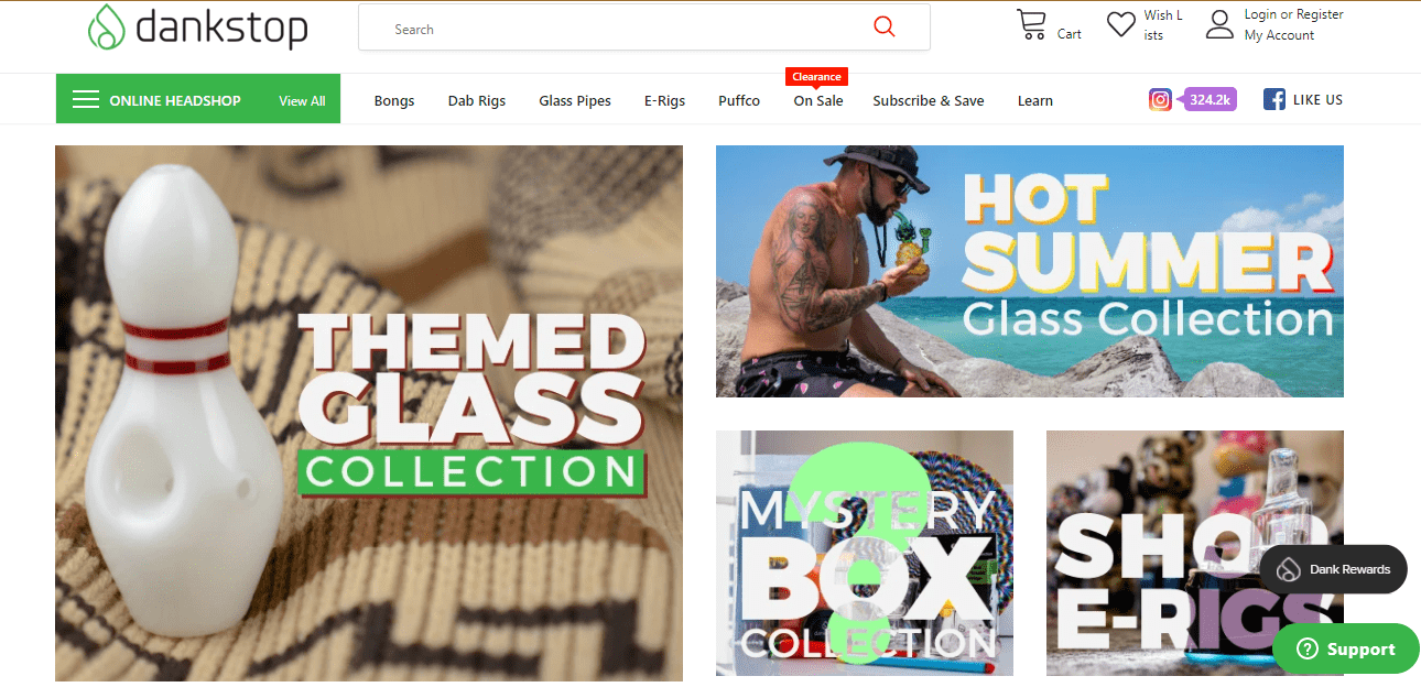 Landing page of DankStop.com, which High Tide has purchased