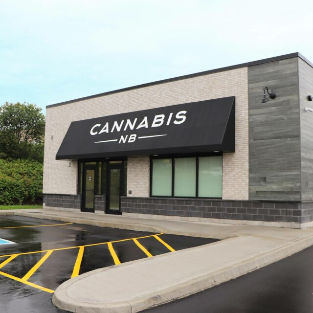 Cannabis NB storefront and parking lot