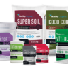 Assortment of BlueSky Organics soil and nutrient products
